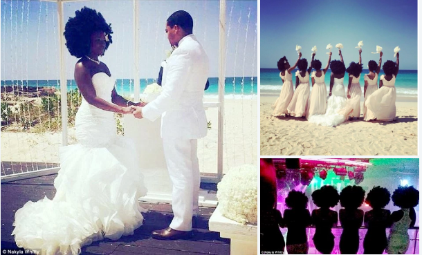 Naturalfabulousity: Nakyia Whitty, 27, beautiful bride, stunning wedding photos featuring her and her bridesmaids sporting voluminous natural hair – hair envy