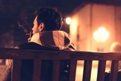 bench-man-person-night