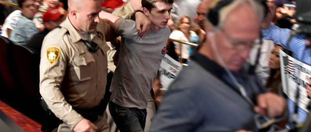 Michael Sandford, British teenager, arrested after grabbing officer's gun at Vegas rally – tells cops 'I wanted to kill Donald Trump'