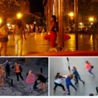 Street Life: Rival prostitutes 'gangs' brawl topless on streets of Madrid for prime location