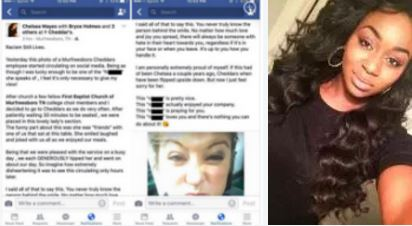 Claps back: Chelsea Mayes, of Tennessee, claps back with love, after Cheddar's waitress hurls racist insults in Snapchat post – server fired by restaurant for vile racist post laced with 'n' word