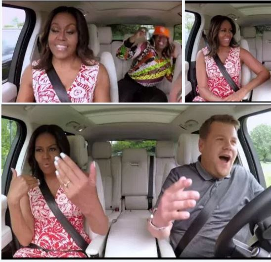 Must Watch -quite fun:  Michelle Obama Sings Karaoke on James Corden's Carpool Karaoke
