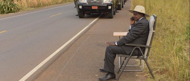 Reason behind distraction?: Ugandan president, Yoweri Museveni, stops to make roadside phone call. Twitter explodes with memes of theevent