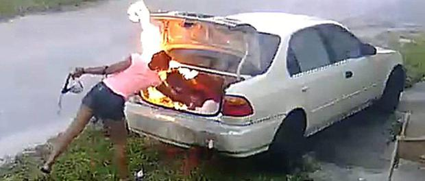 What were YOU thinking?:  Carmen Chamblee, Florida, sets a stranger's car on fire to car, she thought it belonged to ex-boyfriend