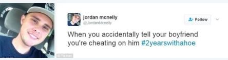 Zoe, outed by a butt dial: Woman accidentally sends her boyfriend a text meant for her friend detailing how she's cheating on him – he slut shames her and posts it on Twitter