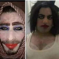 Down fall of the wicked: ISIS fighters dress up as women with make-up and padded bras in desperate attempt to flee Mosul - lady justice is waiting