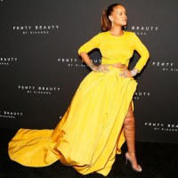 Rihanna, rules in yellow - singer, entrepreneur and all round successful woman - at the launch of her makeup line Fenty Beauty