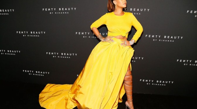 Rihanna, rules in yellow – singer, entrepreneur and all round successful woman – at the launch of her makeup line Fenty Beauty